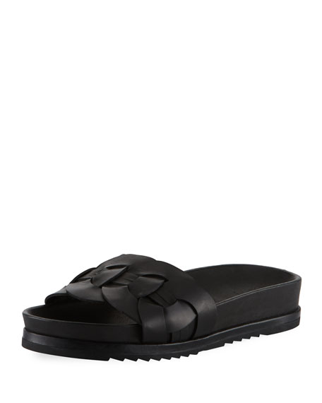 Frye Lily Woven Ring Pool Slide Sandal, Black