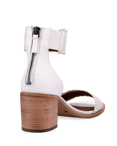 Bianca Woven Lambskin Ankle-Cuff Sandal