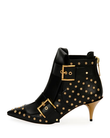 Studded Kitten-Heel Pointed Bootie