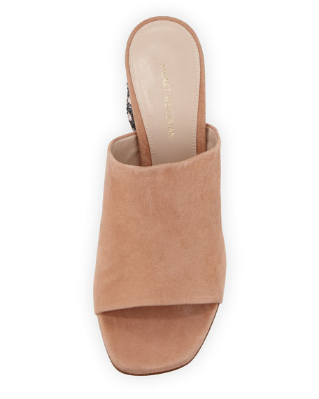 Glitsy Suede Embellished-Heel Mule Sandal