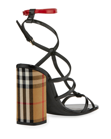 Anthea Patent Caged Check-Heel Sandal