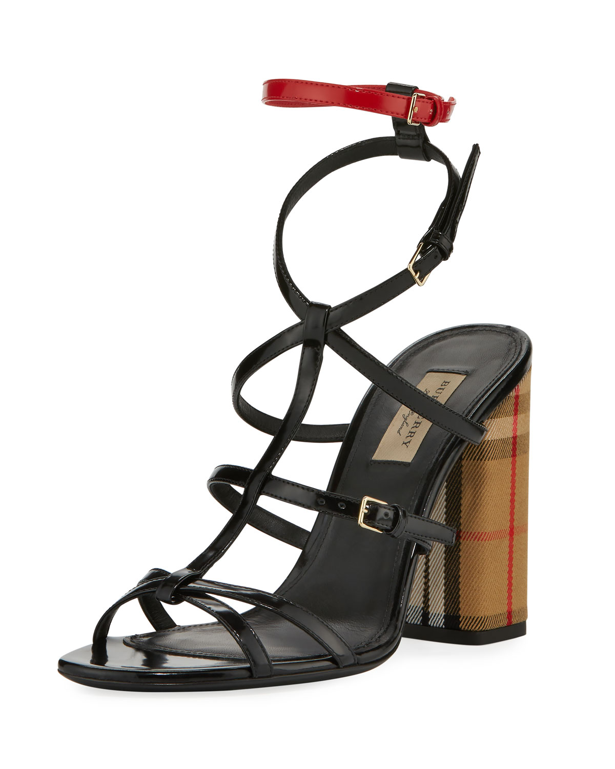 5fc0671408f Burberry Anthea Patent Caged Check-Heel Sandal