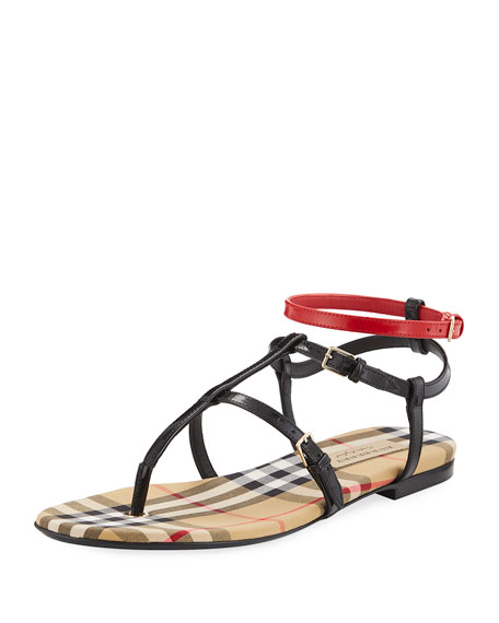 Burberry Anthea Flat Colorblock Sandal
