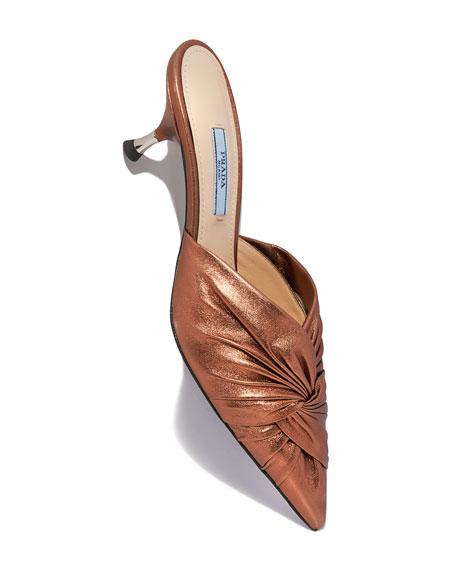 Low-Heel Metallic Leather Twist Mule