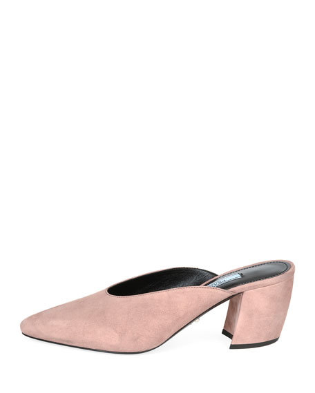 65mm Block-Heel Dipped Suede Mule