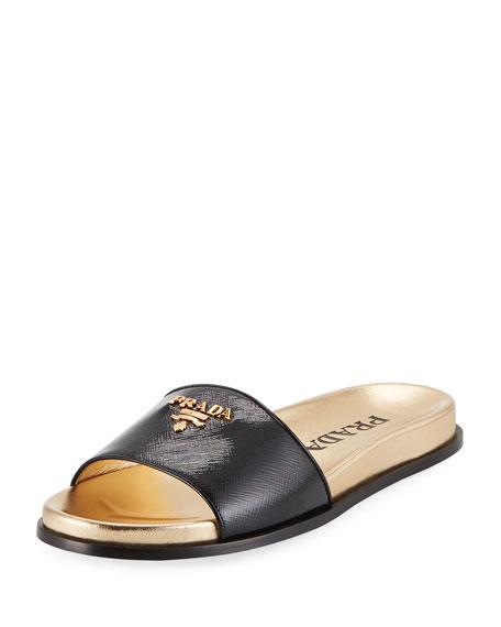 Patent Saffiano Logo Pool Slide Sandal
