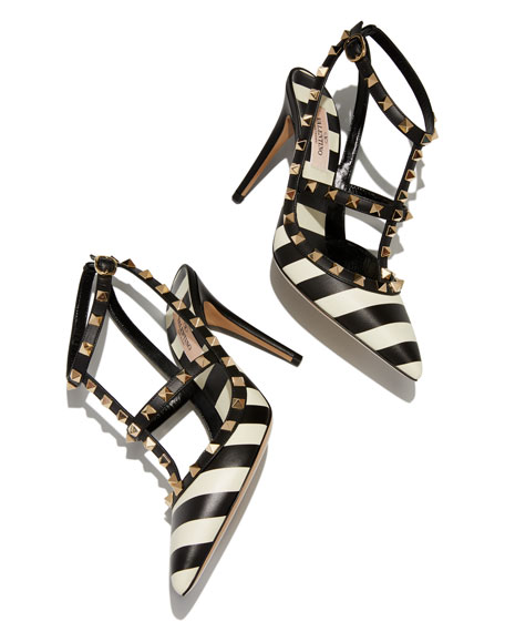 Rockstud V.Stripes Leather 100mm Pumps