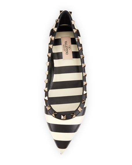 V.Stripes Rockstud Point-Toe Leather Ballet Flat