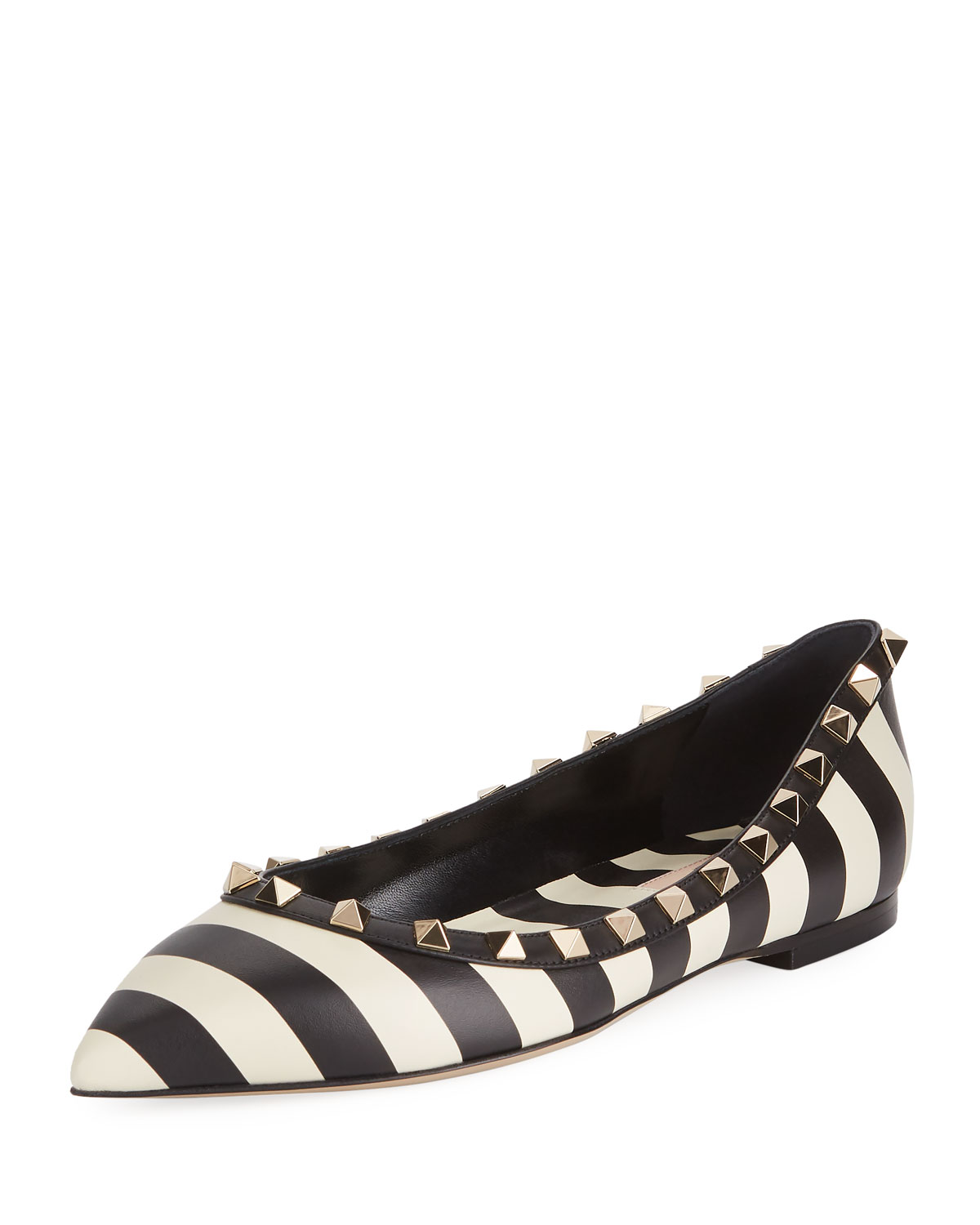 d9bc74735fa2 Valentino Garavani V.Stripes Rockstud Point-Toe Leather Ballet Flats ...