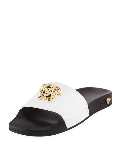Versace Leather Pool Sandal