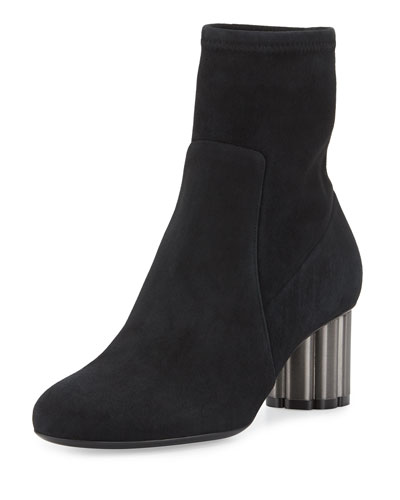 Suede Midi Ankle Boot, Black