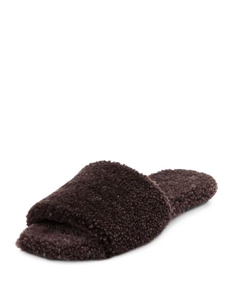 Teddy Shearling Fur Flat Slide Sandal