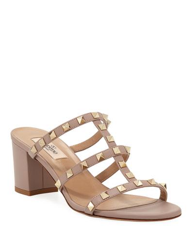 Rockstud Smooth Calf Leather Slide Sandal