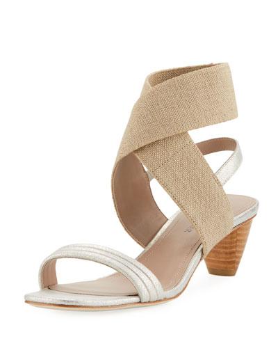 Hira Metallic Leather Low-Heel Sandal