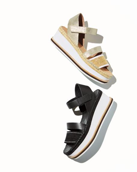 Anie Platform Mesh/Metallic Brush-Off Wedge Sandal