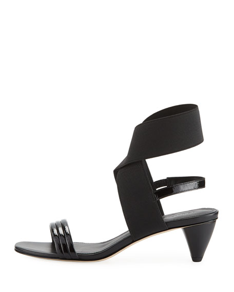 Hira Crinkled Patent Leather Low-Heel Sandal