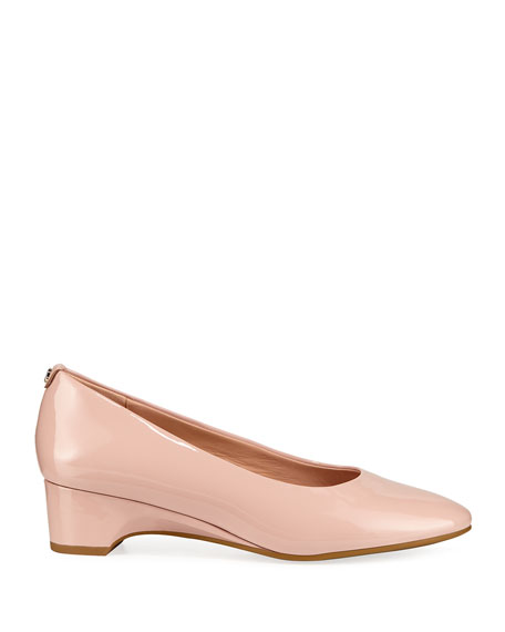 Taryn Rose Babs Soft Patent Leather Demi-Wedge Comfort Pumps