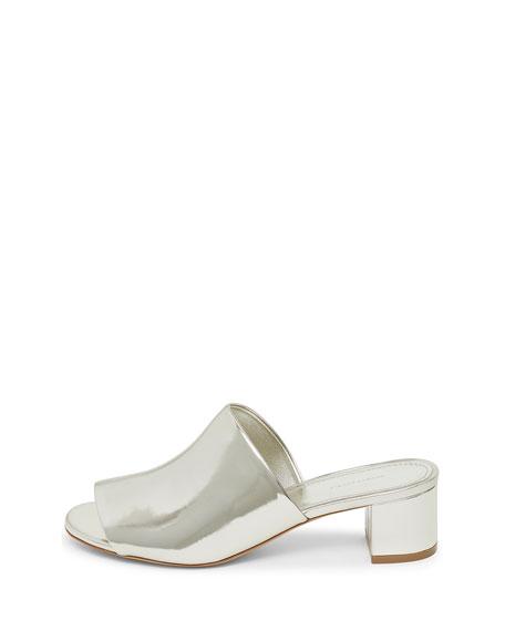 Metallic Leather 40mm Block-Heel Mule Sandal