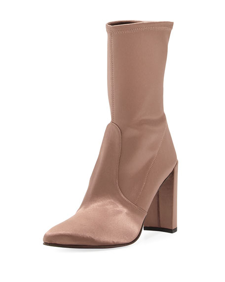 Stuart Weitzman Clinger Stretch-Satin Mid-Calf Boot