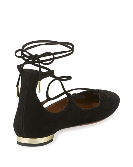 Dancer Suede Lace-Up Flat, Black