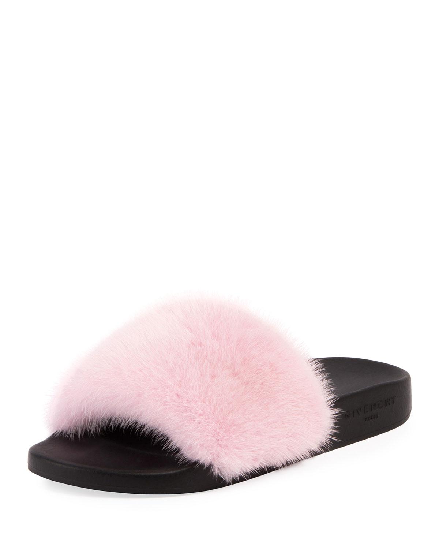 82d182a4d Givenchy Mink Fur Slide Sandal | Neiman Marcus