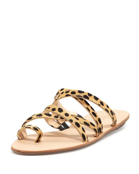 Loeffler Randall Sarie Cheetah-Print Calf-Hair Sandal, Cheetah
