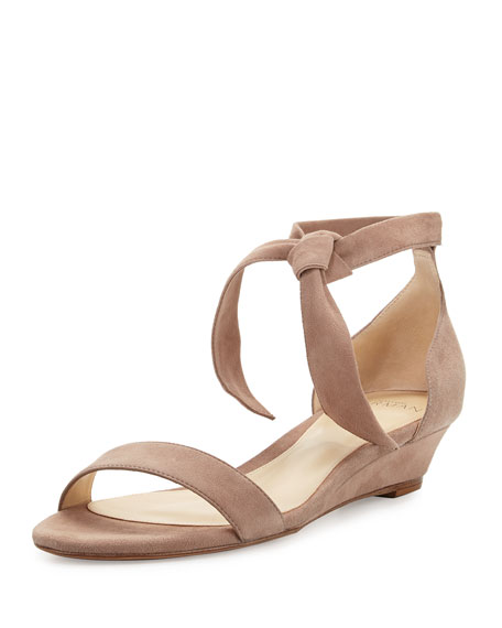 Alexandre Birman Clarita Suede Demi-Wedge Sandal, Neutral