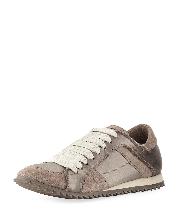 ea625c215c1e Pedro Garcia Cristina Satin Lace-Up Trainer Sneaker