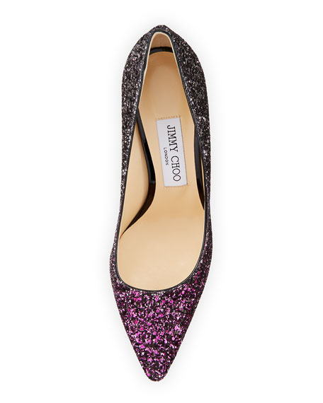 Romy 100mm Coarse Glitter Pointed-Toe Pump