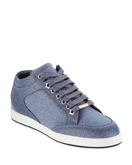 Miami Navy Fine Glitter Leather Trainers in Blue