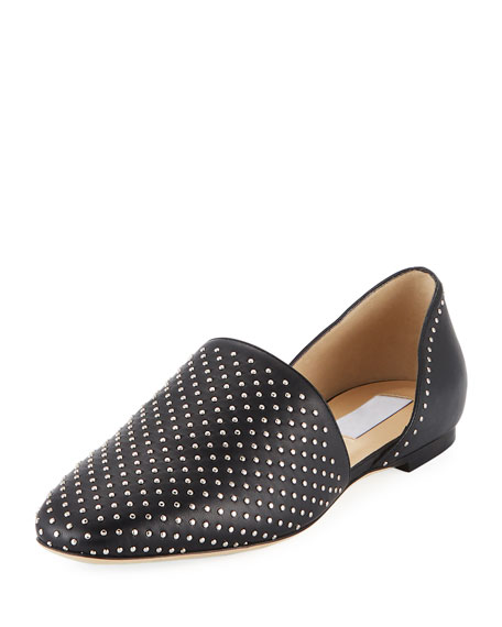 Jimmy Choo Globe Studded Leather Flat