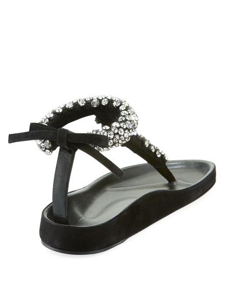 Emita Jeweled Flat T-Strap Sandal