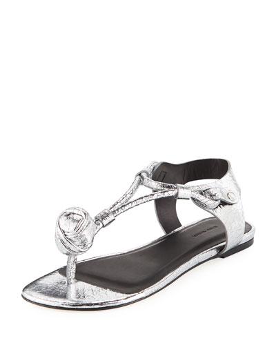 Jarley Crackled T-Strap Sandal