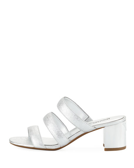 Paloma Flex Cracked Metallic Leather Sandal