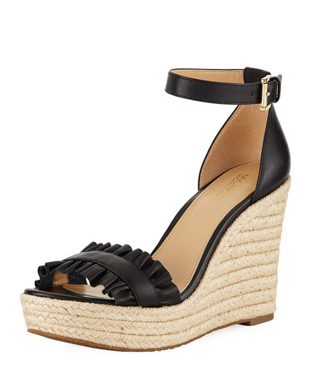 MICHAEL Michael Kors Bella Ruched Leather Wedge Sandal