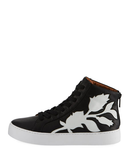 Lena Floral Leather High-Top Sneakers