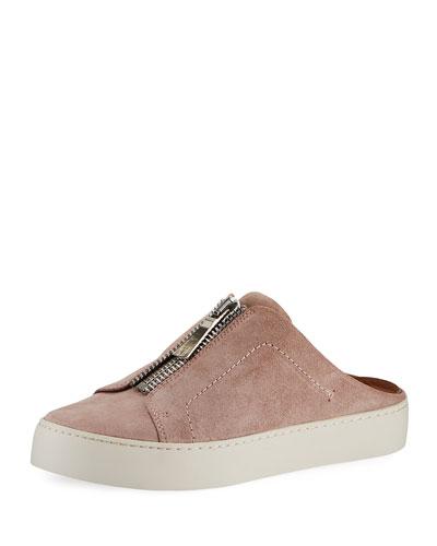 Lena Zip Suede Sneaker Mules