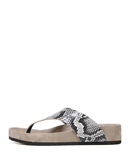 Padma Platform Snake-Print Thong Sandal