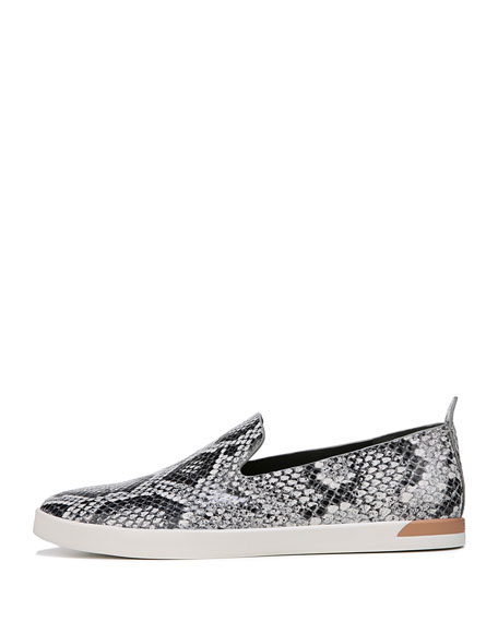 Vero Snake-Print Leather Slip-On Sneakers