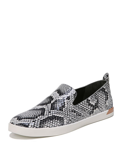 Vero Snake-Print Leather Slip-On Sneaker