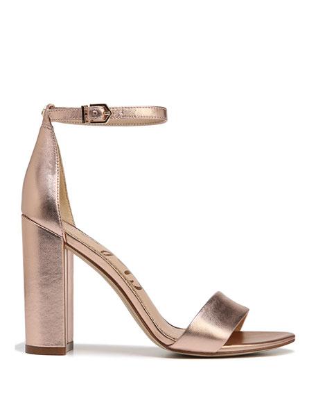 Yaro Metallic Block-Heel Sandal