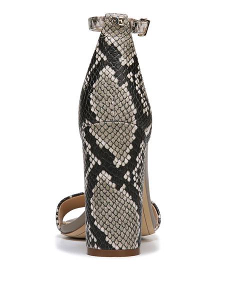 Yaro Snake-Print Leather Chunky-Heel Sandal