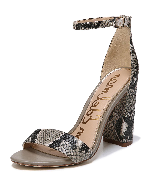 066b0c7f2 Sam Edelman Yaro Snake-Print Leather Chunky-Heel Sandal