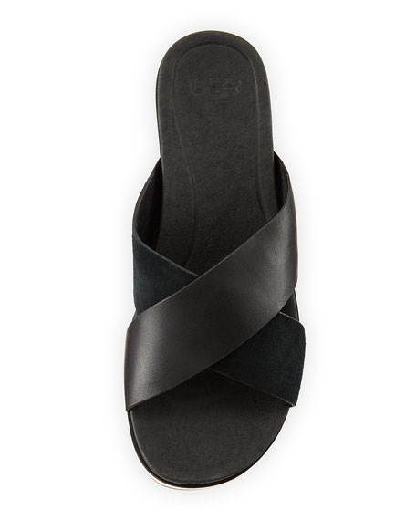 Kari Leather/Suede Cross-Band Slide Sandal
