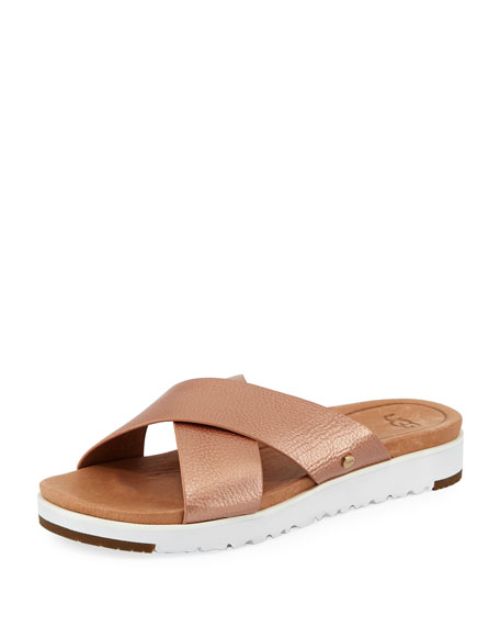 Kari Metallic Leather/Suede Cross-Band Slide Sandal