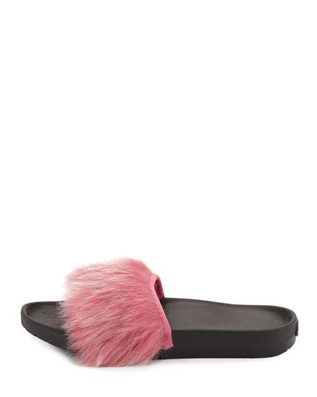 Royale Toscana Fur Pool Slides, Pink