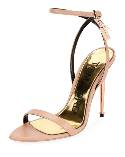 Lock Ankle-Wrap Soft Calf Leather Sandal