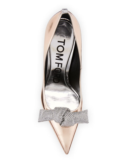 Mirrored Metallic Pump with Crystal Bow