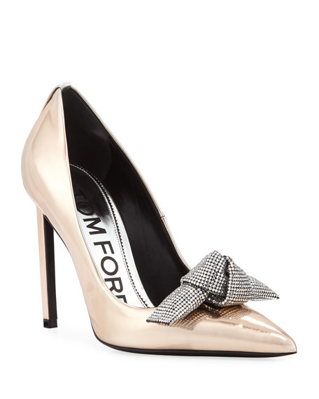 Mirrored Metallic Pump With Crystal Bow by Tom Ford