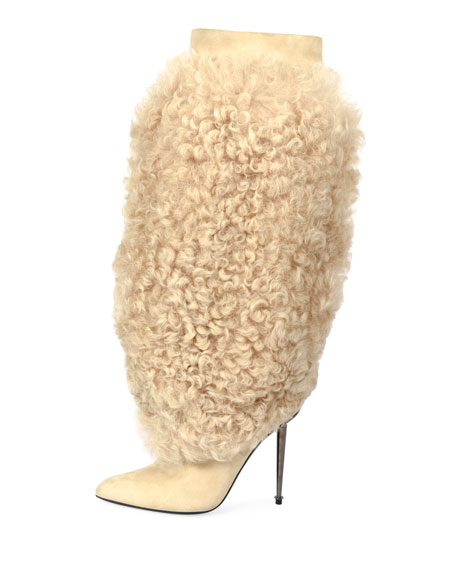 Curly Shearling Fur Knee Boot